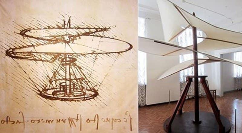 El tornillo aéreo invento de Leonardo da Vinci